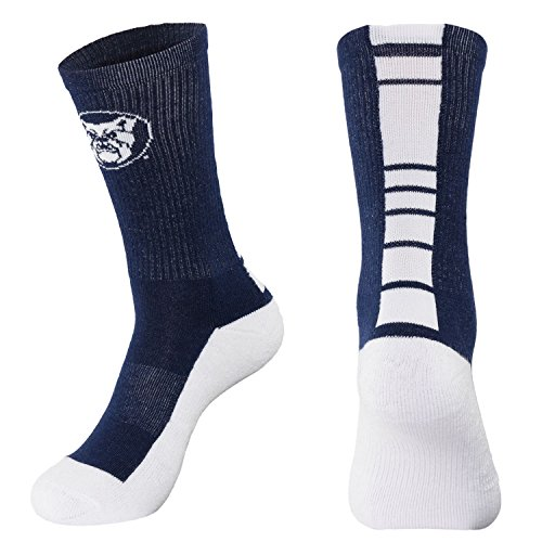 NCAA Butler Bulldogs Men's Champ Performance Crew Socks, Navy Blue, Large - Mens Navy Blue Bull