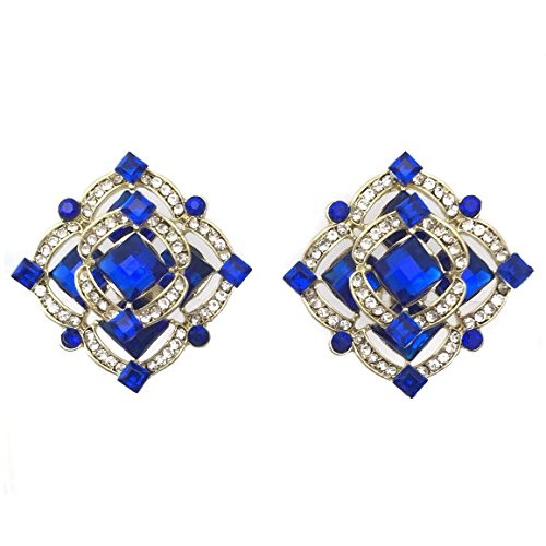 (Royal Blue Rhinestone Gold Tone Double Square Clip on Formal Fancy Earrings)