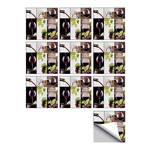 C COABALLA Wine Stylish Ceramic Tile Stickers 10 Pieces,Wine Collage with Barrel Bottle Wineglass Grape Gourmet Taste Beverage Decorative for Kitchen Living Room,7