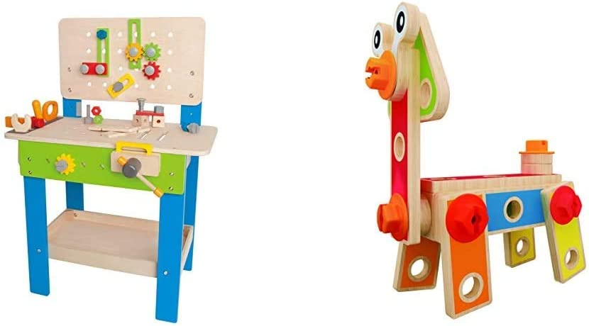 Hape Master Workbench Award Winning Kid's Wooden Tool Bench Toy Pretend Play Creative Building Set, Height Adjustable 35Piece Workshop for Toddlers & Basic Builder Toddler Wooden Play Set