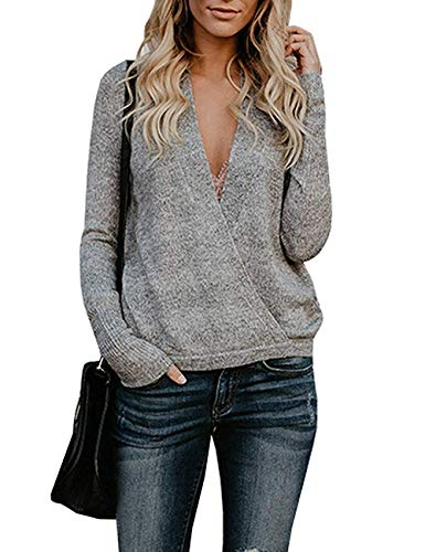 softome Womens Knitted Deep V-Neck Long Sleeve Wrap Front Loose Sweater Pullover Jumper Tops ()