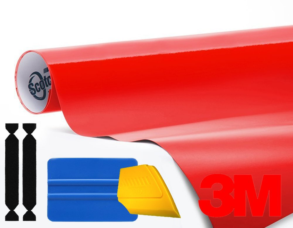 3M 1080 Gloss Hot Rod Red Air-Release Vinyl Wrap Roll Including Toolkit (1ft x 5ft)
