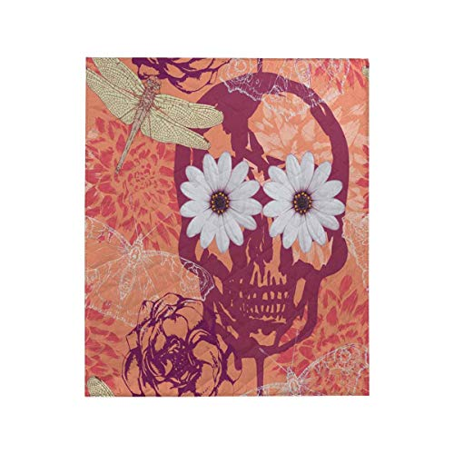 (InterestPrint Vintage Skull, Flowers, Butterflies and Dragonflies Cotton Quilt Baby Blanket 50