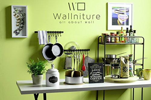 Wallniture Gourmet Kitchen Rail with 10 Hooks | Wall Mounted Wrought Iron Hanging Utensil Holder Rack with Black 17 Inch