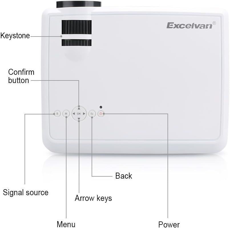 Excelvan LED proyector portátil LED33 + (02), blanco, LED33+(02)-B ...