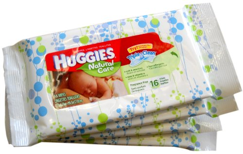 * 4-Pack * Huggies Natural Care Baby Wipes (16 ct./pack)