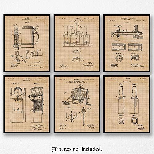 (Original Beer Patent Art Poster Prints- Set of 6 (Six 8x10) Unframed Photos- Great Wall Art Decor Gifts Under $20 for Home, Office, Garage, Man Cave, Brewery, Student, Teacher, Fan)