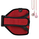 Meshy Workout Armband Case for HTC ONE / Samsung Galaxy S4 / S3 (Red) + Pink VanGoddy Headphones With MIC