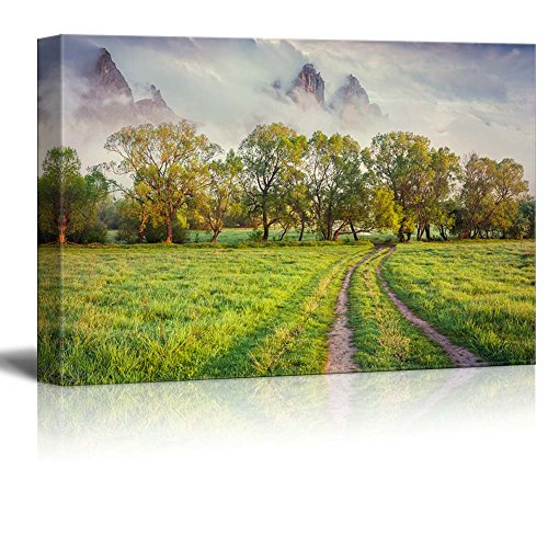 Beautiful Scenery Landscape Colorful Spring Sunrise in the Foggy Mountains Wall Decor ation