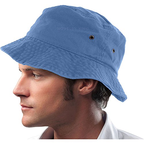 Mens 100% Cotton Fishing Hunting Summer Bucket Cap Hat (S/M, Sky Blue)