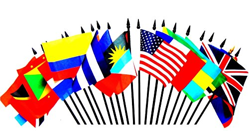 "CARIBBEAN ISLANDS WORLD FLAG SET--20 Polyester 4""x6"" Flags, One Flag for Each Country in the Caribbean Islands, 4x6 Miniature Desk & Table Flags, Small Mini Stick Flags"