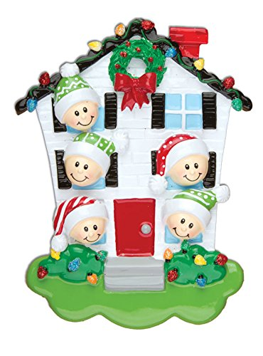 PERSONALIZED CHRISTMAS ORNAMENTS FAMILY SERIES- HOUSE FAMILY OF 5