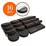 "Best Chair Glides for Hardwood Floors NON SLIP Furniture Pads 16 PCS! Premium 2"" Furniture Feet with Rubber & Felt - Best Hardwood Floor Protectors for Keep All Furniture. High Effective Rubber Furniture Pads for 100% Satisfaction"