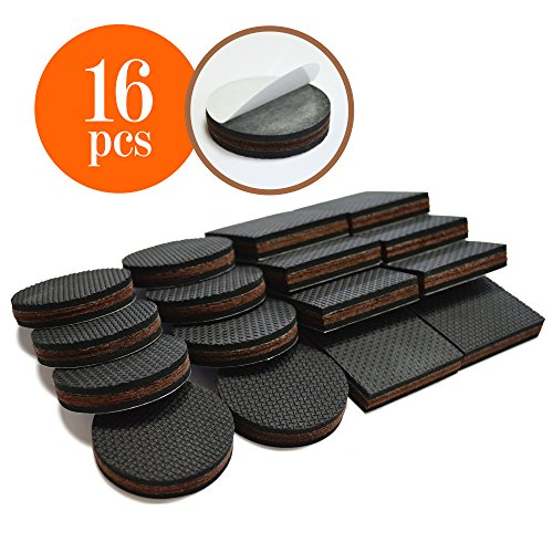 "NON SLIP Furniture Pads 16 PCS! Premium 2"" Furniture Feet with Rubber & Felt - Best Hardwood Floor Protectors for Keep All Furniture. High Effective Rubber Furniture Pads for 100% Satisfaction"