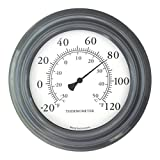 Gray Finish 8'' Decorative Indoor / Outdoor Patio Thermometer