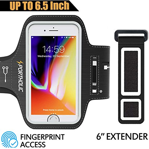 Large Running Armband for iPhone 8 Plus 7 Plus 6s/6 Plus, Samsung Galaxy S9 + S8 Plus, Note 8/3/4/5, LG G6, Fits Otterbox Defender case, Portholic Exercise Pouch Phone Holder--Fingerprint Access