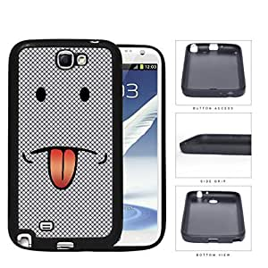 Emoji Smiley Face With Tongue Out Gray Diamond Rubber Silicone TPU Cell Phone Case Samsung Galaxy Note 2 II N7100