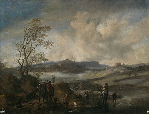 (Polyster Canvas ,the Beautiful Art Decorative Canvas Prints Of Oil Painting 'Wouwerman Philips (and Workshop) Partida De Cetreria Entrando En Un Rio 1655 58 ', 10 X 13 Inch / 25 X 33 Cm Is Best For Bedroom Decoration And Home Decoration And Gifts)