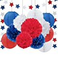 Patriotic Decoration Wedding Decoration Navy Blue White Red Tissue Paper Pom Pom Paper Flower Paper Lantern Paper Honeycomb Ball Blue Red White Paper Star Garland Banner