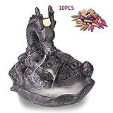 Dragon Backflow Incense Cones Purple Clay Burner Holder Ceramic Art Craft + 10 Cones (Drangon)