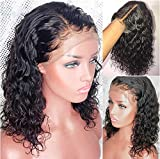 Brazilian Virgin Hair Short Bob Curly Human Hair Lace Front Wigs with Baby Hair Full Lace Human Hair Short Wigs Curly for Black Women (10 Inch Lace Front Wig, Natural Color)