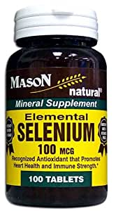 3 Pack Special of MASON NATURAL SELENIUM 100 MCG TABLETS 100 per bottle