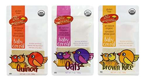 Gluten Free Organic, Sprouted Baby Cereal Assortment: Quinoa, Brown Rice, Oat - 7 Oz. (198 g) Each - 3 Pack Bundle