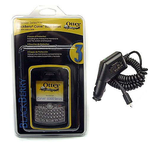 Blackberry 8310 Car Charger - Otterbox Defender Case and Car Charger for Blackberry Curve 8300 8310 8320 8330