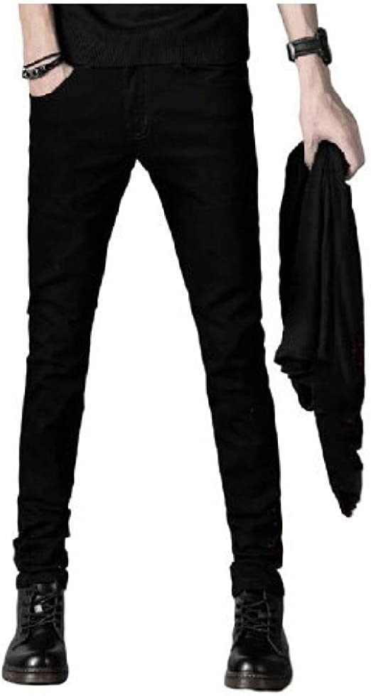 YAXINHE Men Fleece Bodycon With Pocket Washed Warm Thickened Solid Jean Trousers