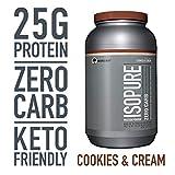 Image of Isopure Zero Carb, Keto Friendly Protein Powder, 100% Whey Protein Isolate, Flavor: Cookies & Cream, 3 Pounds