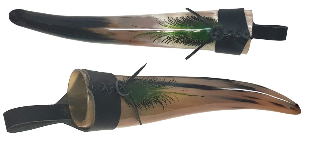 Hand printed peacock Fathers Pair of Bull Horn Real Viking Horn Polished Drinking Horn 12-14 Inch Drinking Horn with Genuine lather Hanger SIXTH SENSE