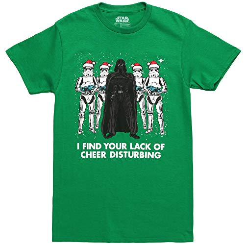 Star Wars Tee, Green//Officially Licensed Holiday Cheer Men's el, Large