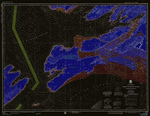Vintography Blueprint Style 18 x 24 Reprint of 1976 Nautical Chart Prince William Sound Eastern Entrance by NOAA-NOS ()