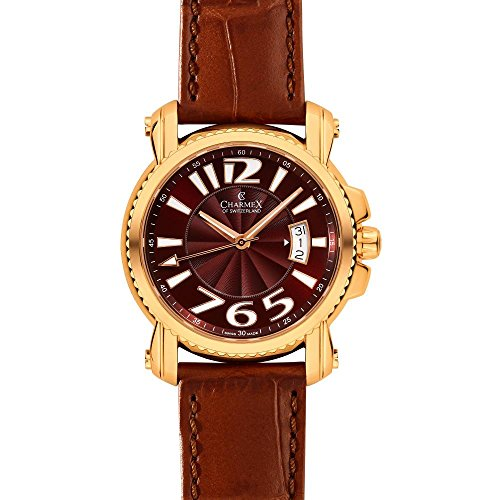 Charmex Berlin 2512 42mm Gold Plated Stainless Steel Case Brown Calfskin Synthetic Sapphire Men's Watch