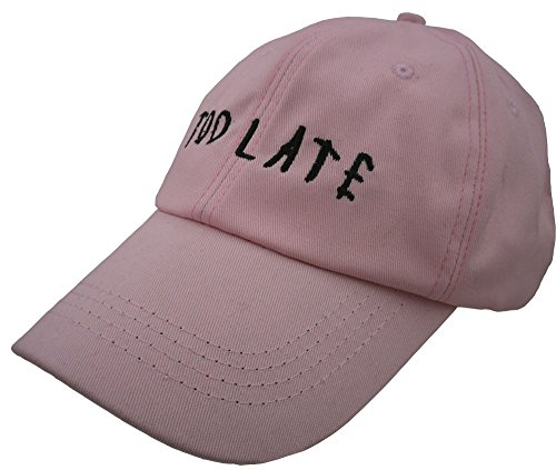 FGSS Mens Too Late Embroidery Adjustable Strapback Dad Hat Baseball Cap (Free, pink) (Funny Caps)
