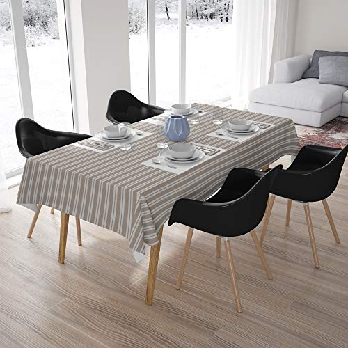 Encasa Homes Plain Colour Tablecloth for 6 to 8 Seater Large Centre Dining Table - Beige Stripes - Cotton Canvas Fabric, Mercerised, Washable, Rectangular for Home Hotel & Restaurant