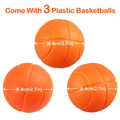 4 Balls and Mesh Bag with Strong Suction Cup and Magic Rop Bath Toy Basketball Hoop /& Balls Playset Satkago Bathtub Playset for Kids Boy Girl