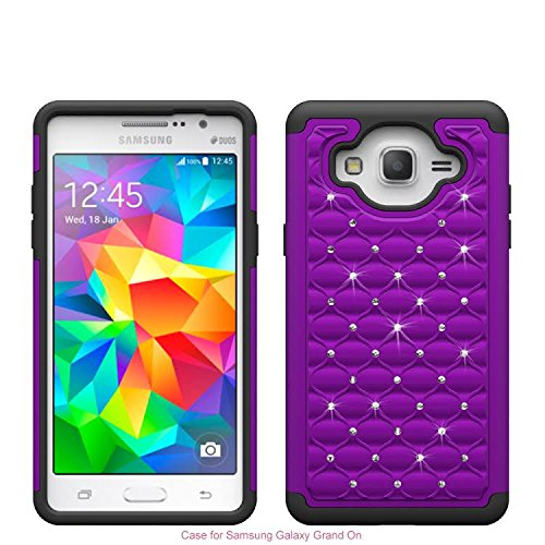 Diamond Purple Skin Case - Samsung Galaxy On5 Case - Hybrid Dual Layer Diamond Cover [Drop Protection/Shock Resistant]Crystal Bejewel Bling Case for Samsung Galaxy On5, (Purple/Black Skin)