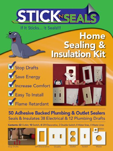 Stick 'N' Seal Adhesive Backed Plumbing and Outlet Draft Sealers. Home Sealing Kit. Save Energy and Money. Pack of 50 by Airtite