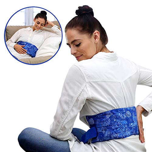Hot Pockets Back Heating Pad for Lower Back Pain Relief - Washable and Microwavable Heat Wrap with Secure to Body Strap - American Brand Natural Hot & Cold Therapy Packs (Blue Flowers)