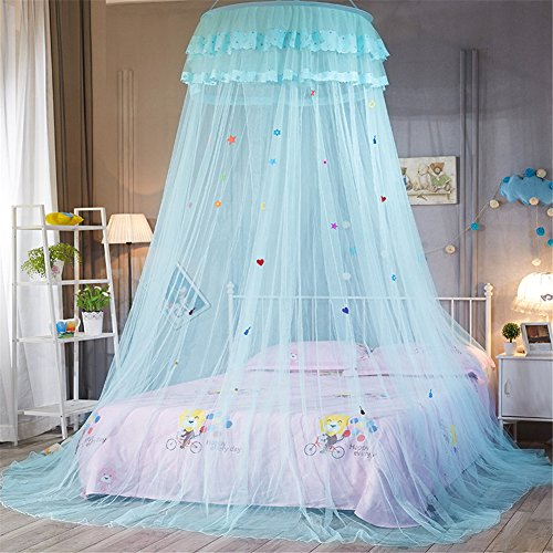Per Princess Dome Netting Curtains With Cartoon Decoration Hanging Canopy Play Tent Mosquito Net For Kids Bedroom Height 270cm/106.29in,Dome Diameter 65cm/25.59in-Blue
