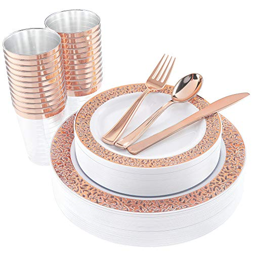 WDF 150 Rose Gold Disposable Plates & Plastic Silverware &Plastic Cups, Lace Dinnerware : 25 Dinner Plates 10.25 inch, 25 Dessert Plates 7.5 inch, 25 Tumblers 10 oZ, 25 Forks, 25 Knives, 25 Spoons
