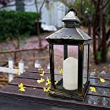 """excellent rustic mantel decoration ideas Bright Zeal BZY 14"""" Tall Vintage Decorative Lantern with LED Pillar Candle (Bronze, Batteries Included) - Outdoor Lanterns Decorative Hanging - Battery Lantern Candle Holder - Vintage Candle Lantern"""