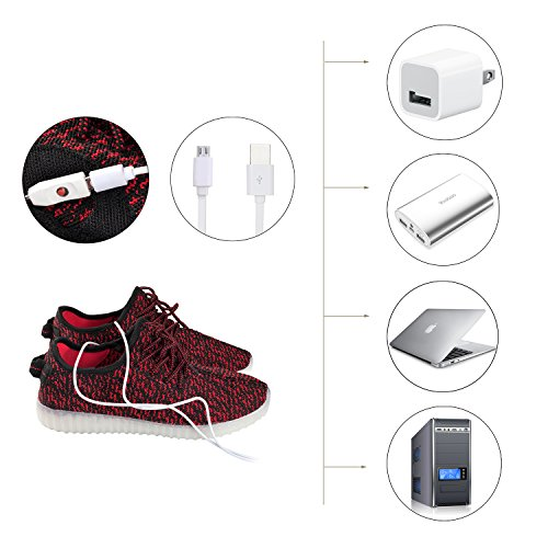 Shinmax Light Up Shoes, Sneakers Led Shoes Traspiranti 7 Colori Light Shoes Per Uomo E Donna, Kid Shoes Red Mesh