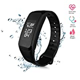 Wireless Fitness Activity Tracker Smart Bracelet Watch Wristband Blood Pressure Heart Rate Calorie Tracker Pedometer Sport Sleep Monitor Waterproof for Android IOS Phone(Black)