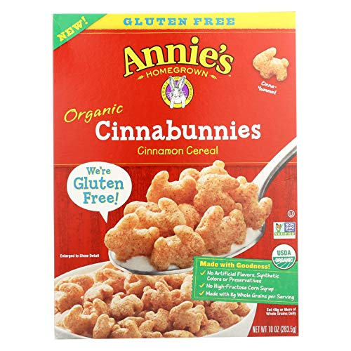 ANNIE'S HOMEGROWN, Organic Cereal,Cinnabunnies, Pack of 10, Size 10 OZ - No Artificial Ingredients GMO Free 95%+ Organic