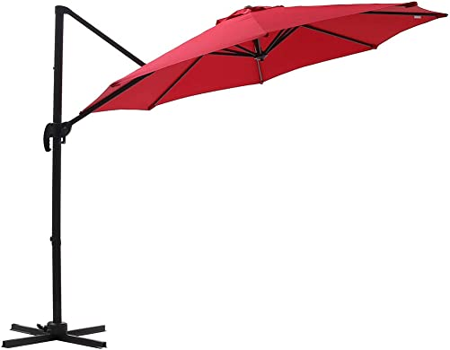SUPERJARE 10 Ft Offset Hanging Umbrella, Crank Lift 5 Lock Positions, 360 Rotation, Outdoor Patio Cantilever with Tilt Canopy – Red