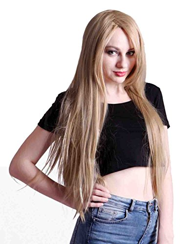 (HDE Women's Wig Long Straight Hair Wig (32 Inches Total Length) with Included Wig Cap Synthetic Halloween Cosplay LARP Costume Accessory (Dirty)