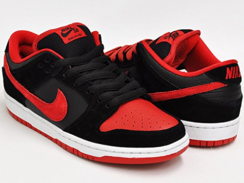 598869bc3e8f87 Nike Mens Dunk Low Pro SB Black University Red-Black Leather Size 11