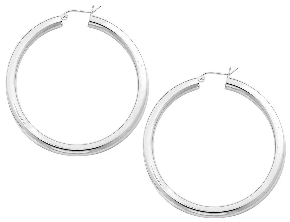 Large Hoop Earrings in Sterling Silver 2 Inch (4.0mm)